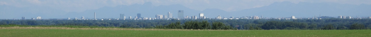View of Munich from the hilltop behind the beer garden.